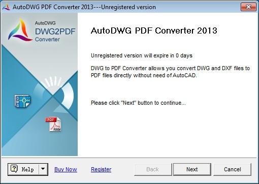 AutoDWG DWG to PDF Converter 2013 screenshot: DWG to PDF, DXF to PDF, DWF to PDF, AutoCAD, Converter