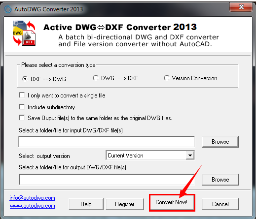 DWG to DXF Converter, DXF to DWG Converter, DWG Version